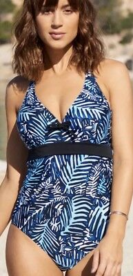 63944b63765cb Bnwt Pour Moi Barracuda Blue & Black Underwired Control Swimsuit Size 32C  £45