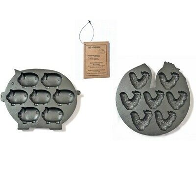 Old Mountain 1 Pig & 1 Rooster 6 Impression Muffin Cast Iron cookware