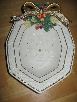 """Fitz & Floyd """"Snowy Woods"""" VEGETABLE Serving Dish/Tidbits Christmas Holiday NEW"""
