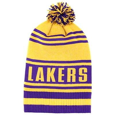 f1e1393a600 Los Angeles Lakers Knit Beanie Hat Cuffless With Pom Gold purple Adidas Nwt  1