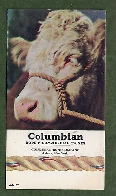 """COLUMBIAN ROPE Ink Blotter #599 - 3¼""""x6"""",Cow w/Rope Harness, Exc Cond"""