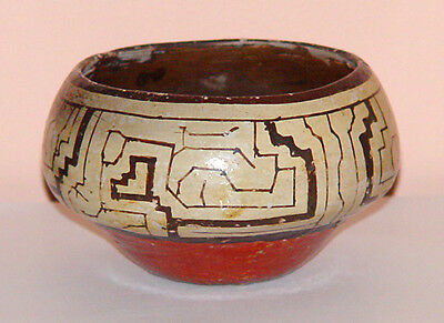 Shipibo Polychrome Vintage Pottery Pot Bowl Circa 1920s to1960's Peru