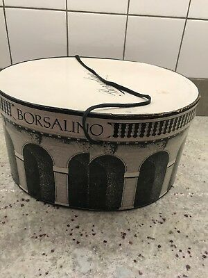1950s-60s Vintage BORSALINO Hat Box Only! Oval COLOSSEUM Nice!