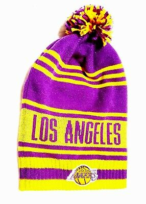 3e74c2aaa8b Los Angeles Lakers Knit Beanie Hat Cuffless With Pom Purple gold Adidas Nwt