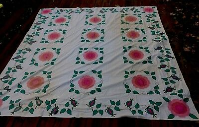 """Vintage Applique COVERLET Muslin Floral Tendril Vines Embroidery 84"""" X 84"""""""