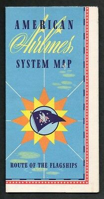 1940s American Airlines System Route Map 24X32 Excellent Condition