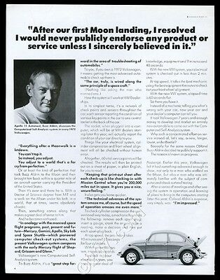 1972 VW Volkswagen Beetle classic car Buzz Aldrin photo vintage print ad
