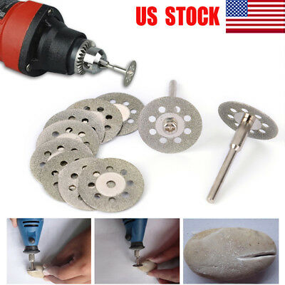 10pcs Diamond Cutting Wheel Saw Blades Discs w/ Strut Set Dremel Rotary Tool US