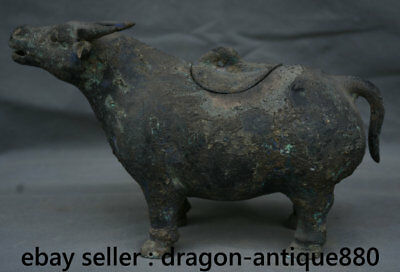 "11"" Chinese dynasty Old antique Bronze Ware Vessel Animal Bull Oxen Pot Censer"