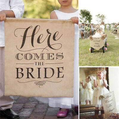 Here Comes The Bride Sign Burlap Banner Wedding Flag Rustic Ceremony Flower BS