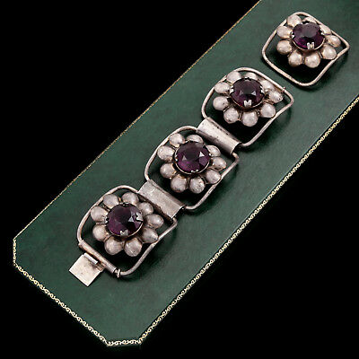 Antique Vintage Deco Retro Sterling Silver Mexican Taxco Amethyst Paste Bracelet