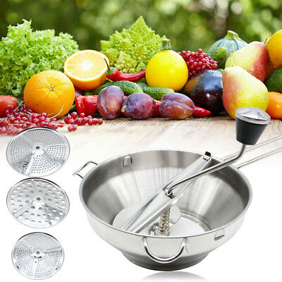 New Stainless Steel Food Fruit Mill Masher Ricer Strainer with 3 Milling Discs
