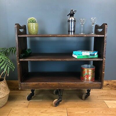Old Antique Industrial Trolley Sideboard Rustic  Vintage Shelving Unit Library