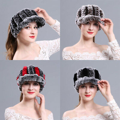 Women Winter Keep Warm Hats Real Hole Genuine Fur Knit Hat Beanie Ponytail Cap