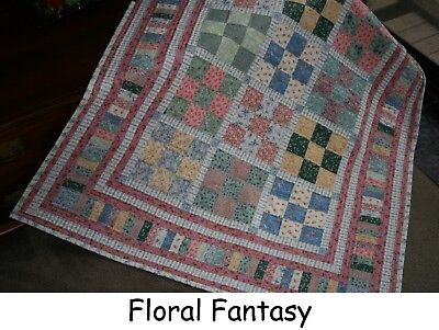 "Hand Made Quilt ""FLORAL FANTASY"" Design by Quilt-Addicts 65"" x 56"""