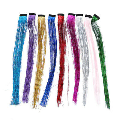 Holographic Sparkle Hair Tinsel Strands Glitter Extensions Highlight Bling BS