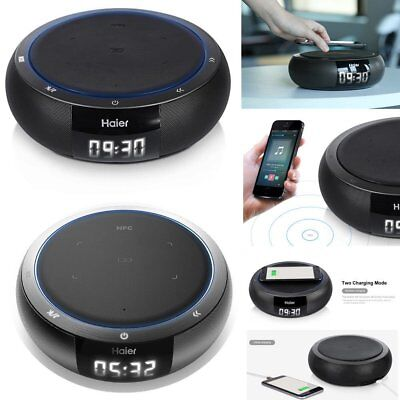 Haier HiFi Stereo Bluetooth Speaker Qi Wireless Charger Pad USB Smart Charging T