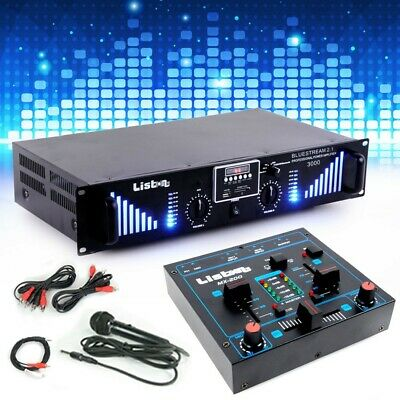 PA Karaoke Set 3000W USB SD MP3 Bluetooth Verstärker Mixer Mikrofon Mischpult
