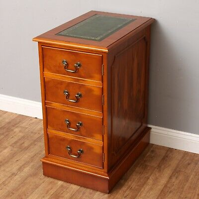 Antique Style Yew Green Leather Topped Computer Filing Cupboard Desk Companion