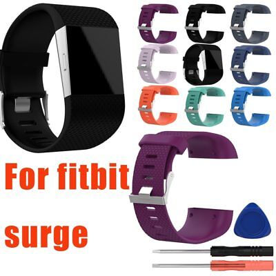 Replacement Silicone Wristband Strap Watch Band Complete Kit For Fitbit Surge