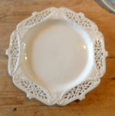 Vintage Leeds Pottery Classical Creamware Pierced Plate 11In Max. Diameter