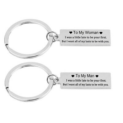 To My Man Heart Stamped Keychain Car Key Tag For Couples lovers Christmas Gift Z