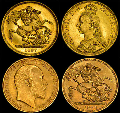 Queen Victoria 1887 & King Edward Vii £2 Gold Sovereign's.....