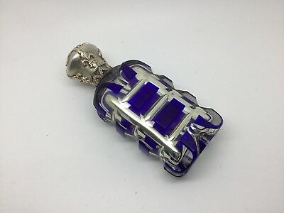 Sterling Silver Blue Mercury Glass Scent Bottle Flask Victorian 1860