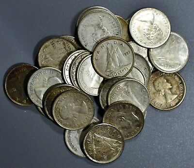 1920-1967 CANADIAN DIMES 10c LOT OF 30  80% SILVER COINS FV $3.00   B1239