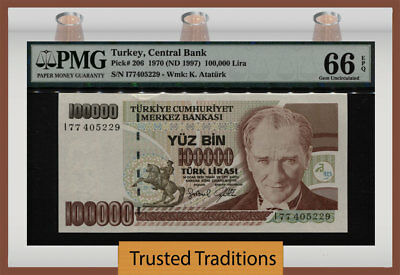 Tt Pk 206 1970 Turkey Central Bank 100000 Lira President Ataturk Pmg 66 Epq Gem!