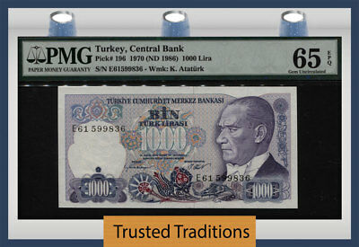 "Tt Pk 196 1970 Turkey Central Bank 1000 Lira ""president Ataturk"" Pmg 65 Epq Gem!"