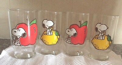 Set Of 4 Vintage 1958 Snoopy Juice Glasses. Schultz. 4 Inches Tall.