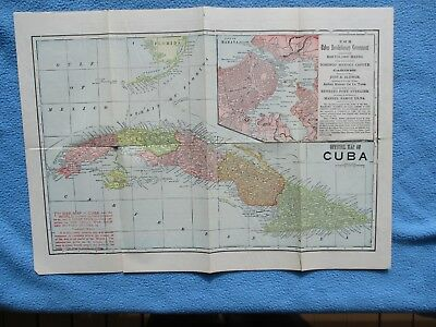 "1899 Spanish American War Lithograph Map of  ""CUBA"" - I COMBINE SHIPPING"
