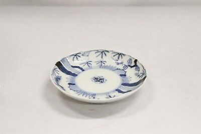 Vintage Chinese Porcelain Blue White Trees Dots Fluted Rim Saucer Blue Ring #6