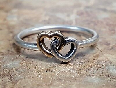 *Pandora 190927 Heart to Heart Sterling Silver 925 & 14k Size 52 5.25 Ring ALE