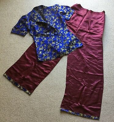 Antique Vtg Women's Silk Chinese Robe Pants Pajamas - Royal Blue Gold Cranberry