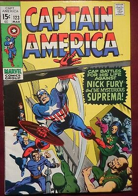 Captain America #123 (1970, Marvel) Early Bronze Age comic in nice high grade