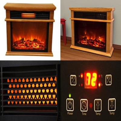 Large Room Infrared Fireplace Heater Deluxe Mantle Warmer Burnished Oak  Finish