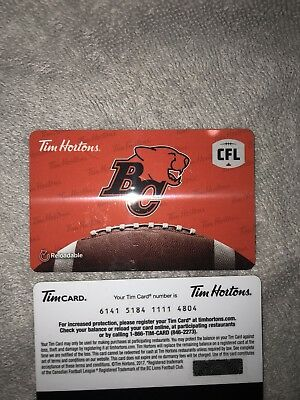 Tim Hortons BC Lions Gift Card CFL