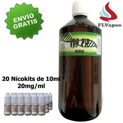 Vap Fip 1000ml 50/50 - 20 Nicokits 10ml 20mg/ml - Base para aroma vapeo - DIY