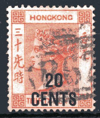 Hong Kong 1885 20c on 30c Orange Queen Victoria No Added Characters Used (1)