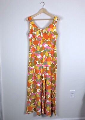 Vintage 60s Neon Psychedelic Floral Bell Bottom Wide Leg Jumpsuit Womens S/M