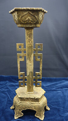 Antique Japanese Cast Iron Temple Candle holder Gold Wash Hearts Buddhist