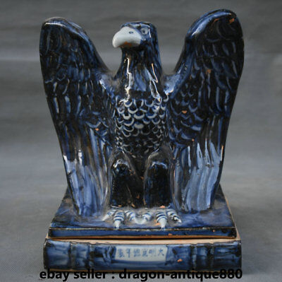 "9.2"" Collect Old Chinese Blue White Porcelain Dynasty Palace Eagle Hawk Statue"