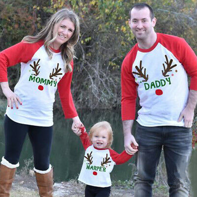 USA Family Matching Clothes Women Girl Mother Dad and Daughter Xmas Party Tops