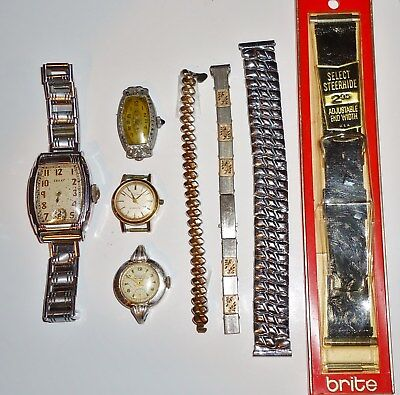 Vintage Mix Lot of Eight - Four Watches and Four Watch Bands (Men's & Women's)