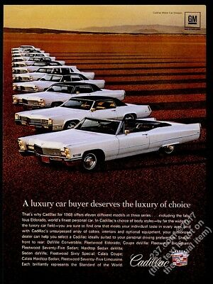 1968 Cadillac DeVille convertible Fleetwood 75 limo etc complete line photo ad