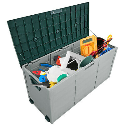 """79 Gallon 44"""" Deck Storage Box Outdoor Patio Garage Shed Tool Bench Container"""