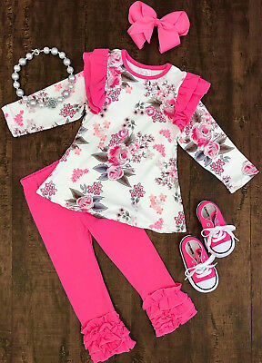 USA Floral Kids Baby Girls Outfits Clothes T-shirt Tops Shirt+Solid Leggings