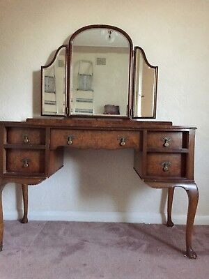 Antique Art Deco Style Walnut Dressing Table with Triple Mirror